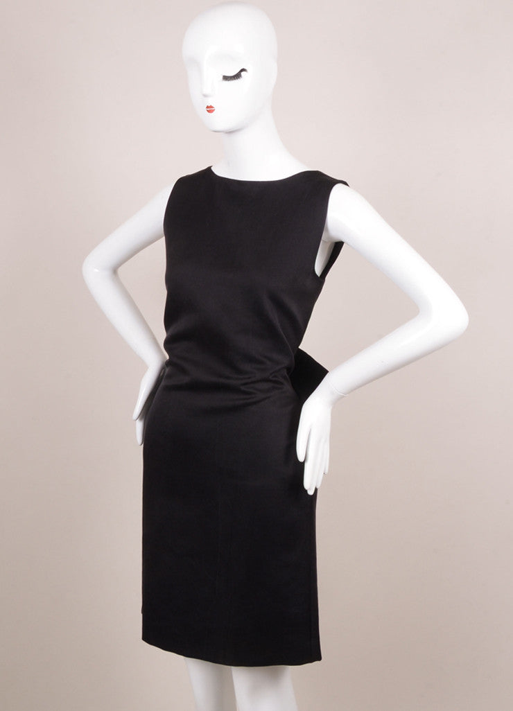 Lanvin Black Silk Blend Open Back Bow Detail Sleeveless Cocktail Dress Sideview