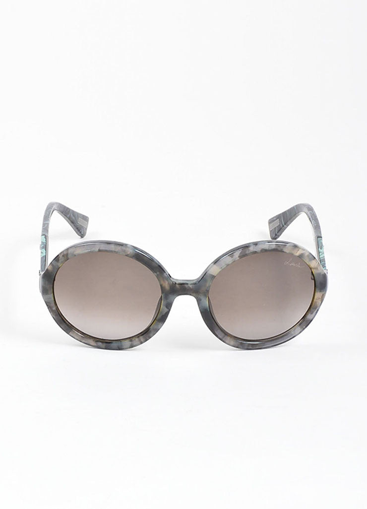 "Grey, Black, and Green Lanvin Marbled Plastic Round Frame ""SLN 628"" Retro Sunglasses Frontview"
