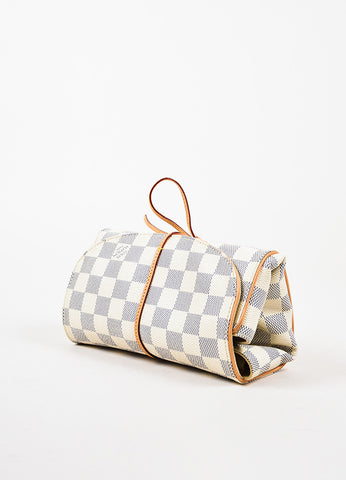 Louis Vuitton Blue Cream Damier Azur Coated Canvas Foldable Jewelry Pouch angle