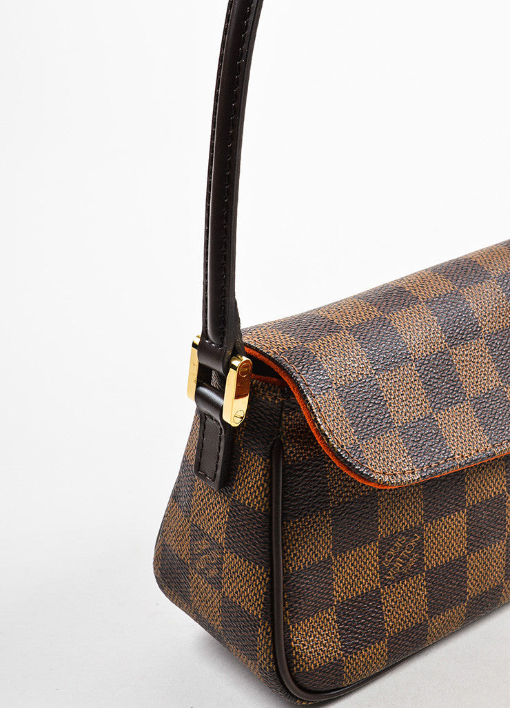 "Louis Vuitton Brown Damier Canvas Leather ""Recoleta"" Shoulder Baguette Bag Detail 2"