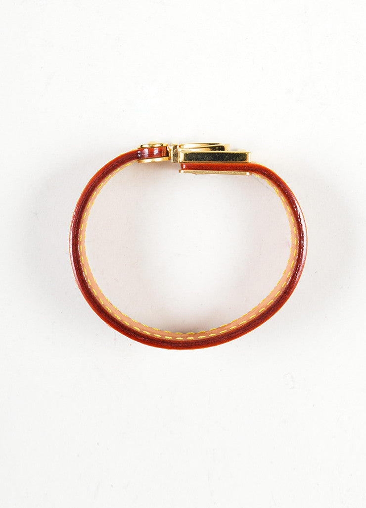 "Cognac Brown and Gold Toned Louis Vuitton Leather ""Koala Nomade"" Cuff Bracelet Topview"