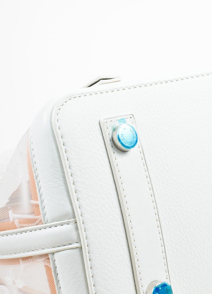 "Louis Vuitton Limted Edition White Nylon and Leather ""Transparence Lockit"" Satchel Bag Detail"