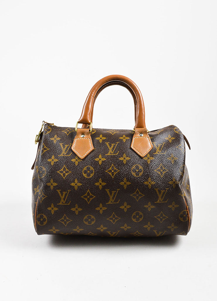 "Louis Vuitton x The French Luggage Company Brown Coated Canvas ""Speedy 25"" Bag Frontview"