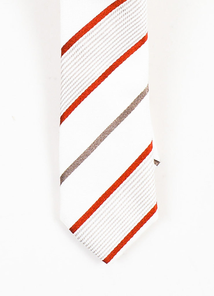 MENS Dolce & Gabbana Cream Grey Red Silk Diagonal Stripe Skinny Tie Detail