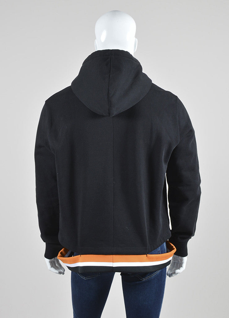 Men's Black Orange White Givenchy Cut Out Hem Fleece Hoodie Back