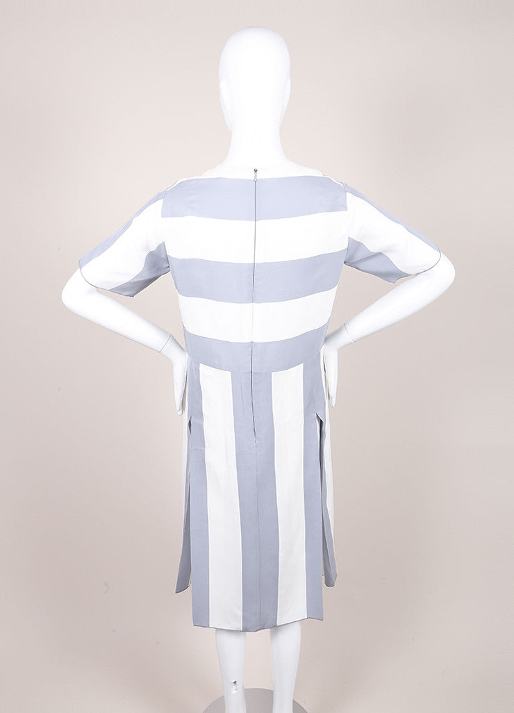 Marc Jacobs New With Tags Grey and White Stripe Print Pleated Short Sleeve Dress Backview