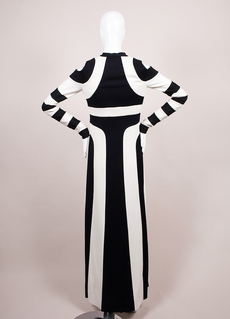 Marc Jacobs Black and White Stripe Long Sleeve Maxi Dress Backview