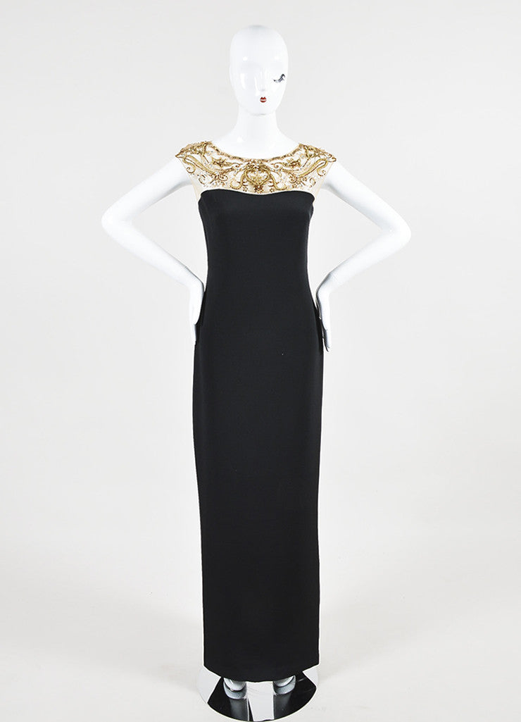 Black and Gold Marchesa Notte Silk Sequin Embellished Cap Sleeve Gown Frontview