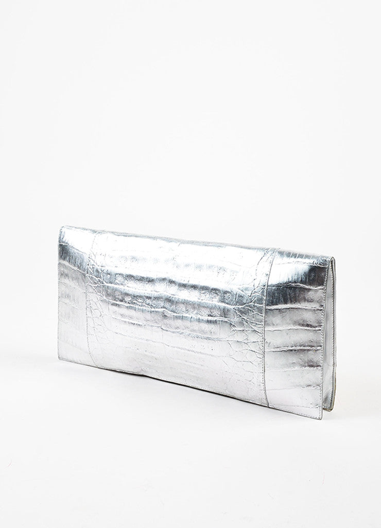 Nancy Gonzalez Silver and Gold Crocodile Leather Oversized Flat Clutch Bag Sideview