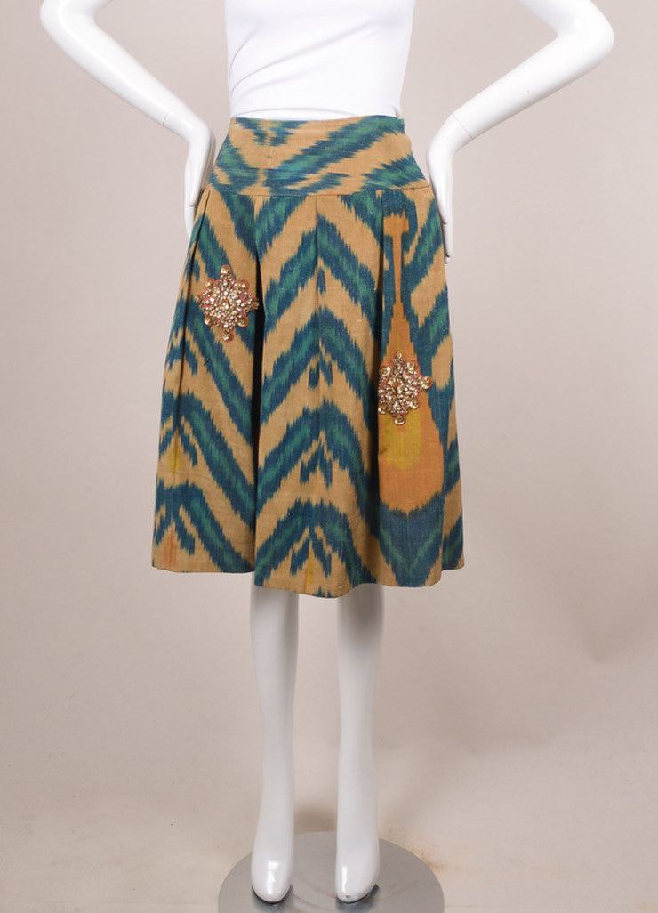 Oscar de la Renta Tan and Teal Silk Blend Printed Embellished Pleated Skirt Frontview