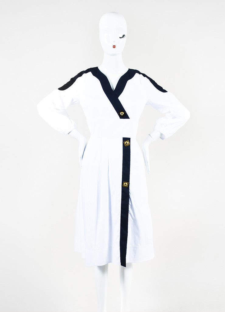 Peter Pilotto White, Navy, and Gold Toned Cotton Buttoned Penta Dress  Frontview