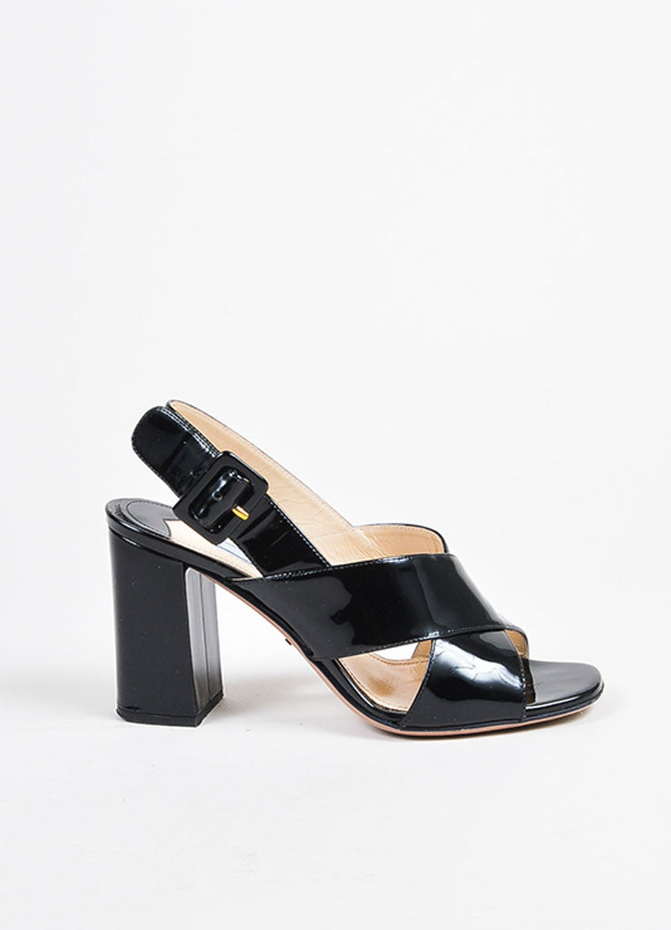 Prada Black Patent Leather Cross Strap Chunky Sandal Heels Sideview