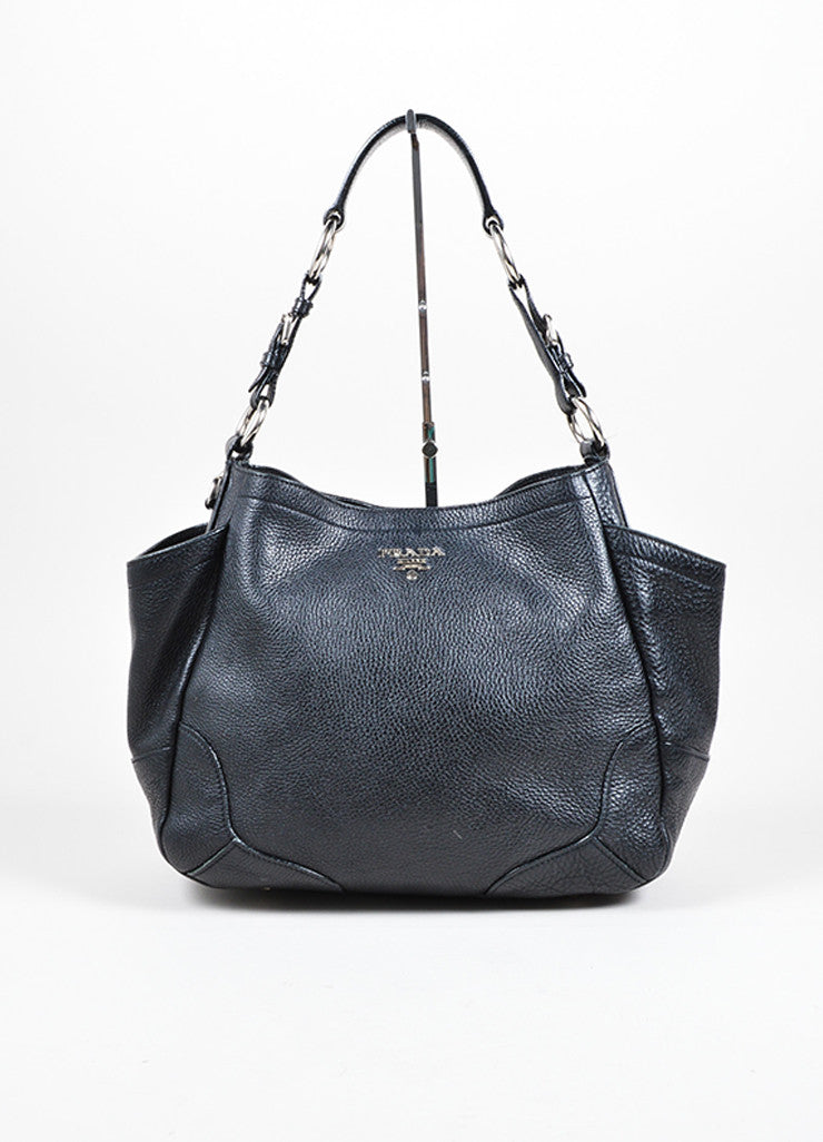 Prada Black Pebbled Leather Shopping Tote Bag Frontview