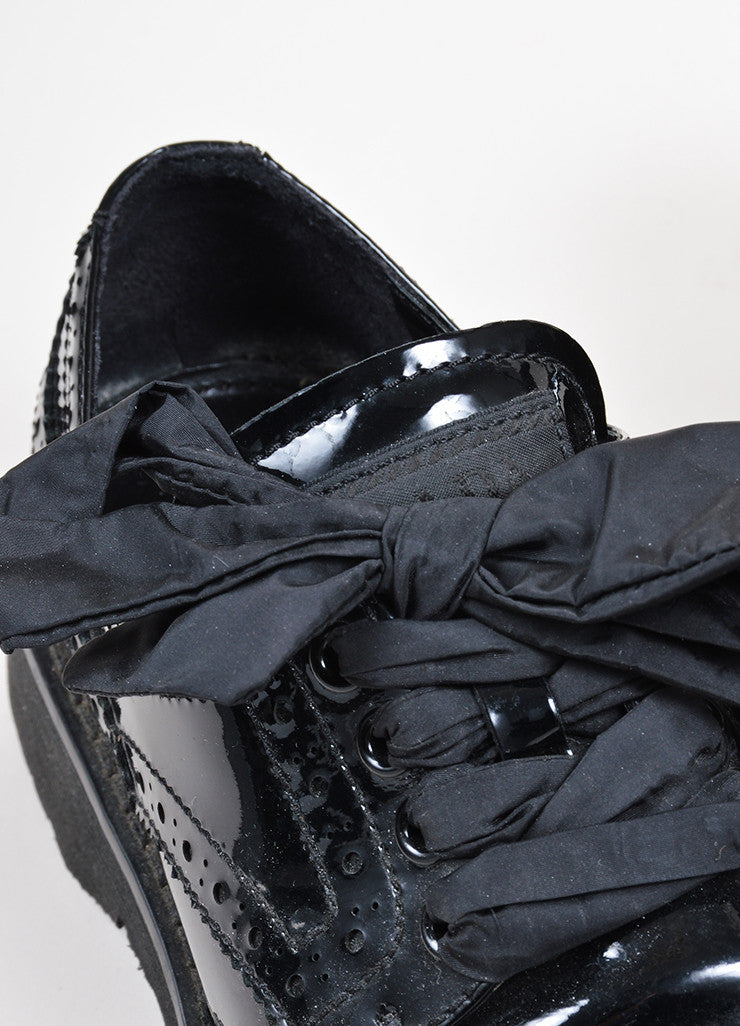 Black Prada Sport Patent Leather Lace Up Brogues Detail