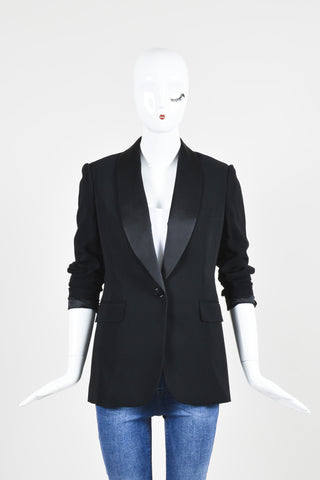 Ralph Lauren Black Label Black Ponte Silk Lapel Blazer Jacket Frontview 2