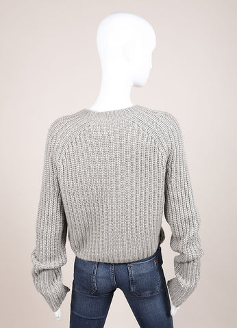 Reed Krakoff New With Tags Grey Wool and Silk Knit Shearling Panel Cropped Sweater Backview