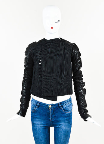 Black Rick Owens Leather Textured Mixed Media Jacket Front 2