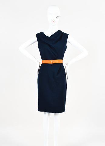 Navy Blue Roksanda Ilincic Wool Color Block Sleeveless Belted Dress Front 2
