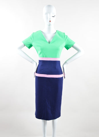 Navy, Green, and Pink Crepe Wool Striped Short Sleeve Dress