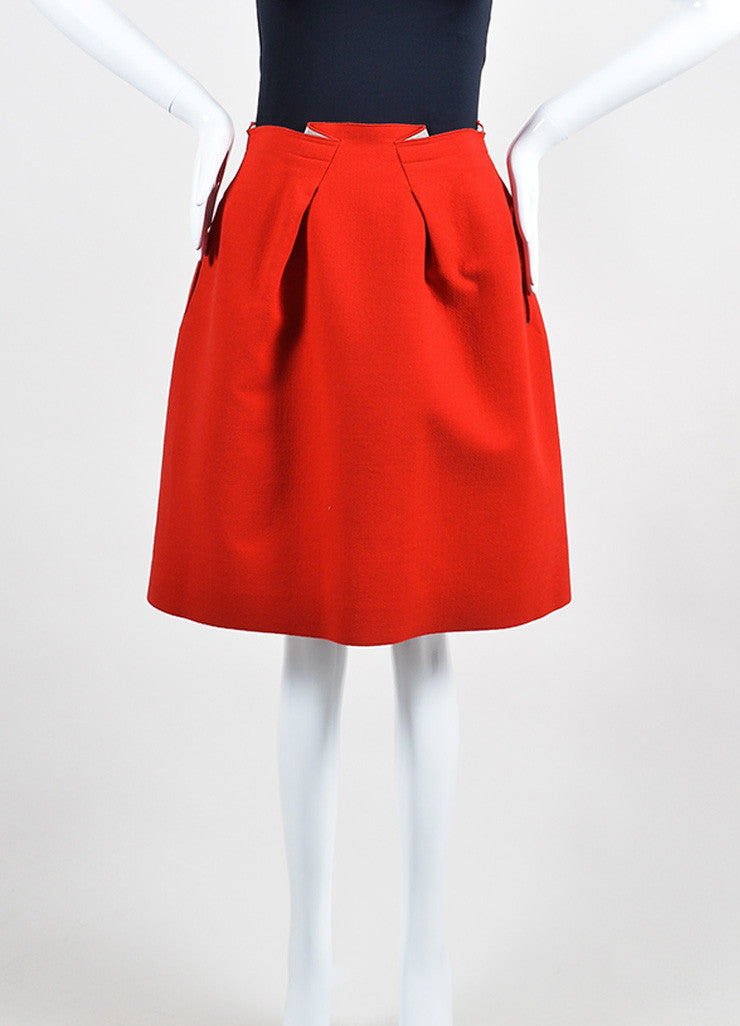 Red Roland Mouret Wool Zipper Knee Length Flared A-Line Skirt Frontview