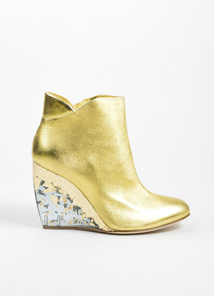 "Gold Metallic and Clear Rupert Sanderson ""Cupid"" Wedge Booties Sideview"