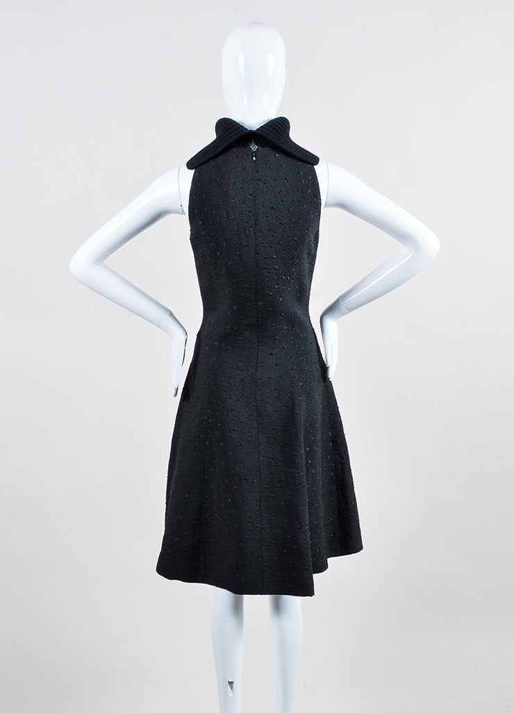 Black Sally Lapointe Wool Turtleneck Jacquard Sleeveless Dress Backview