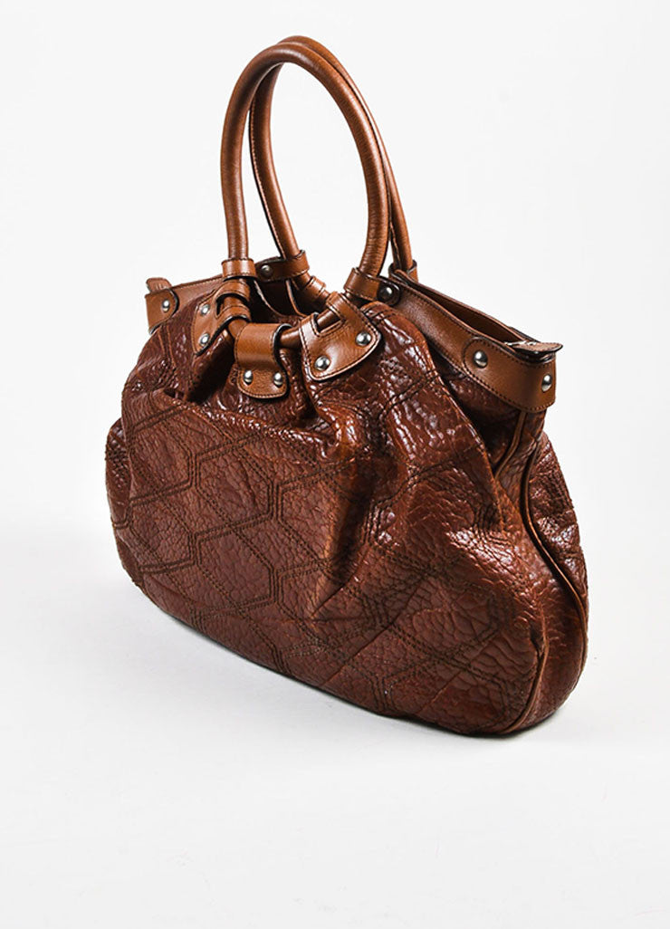 "Salvatore Ferragamo Brown Pebbled Leather Quilted Stitch ""Celtico"" Shoulder Bag Sideview"