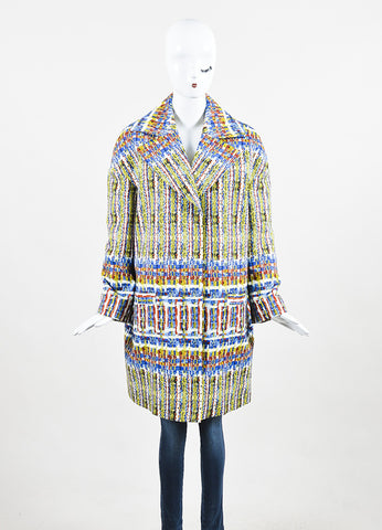 "Stella Jean Blue, Yellow, and White Cotton Printed ""Agente"" Overcoat Frontview 2"