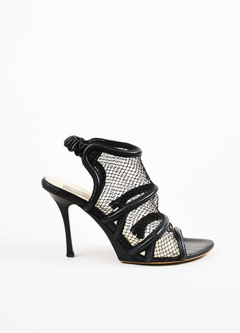 Black Stella McCartney Fishnet High Heel Sandals Side