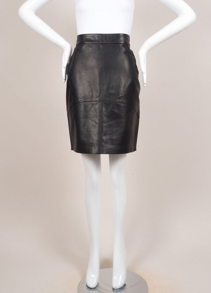 T by Alexander Wang New With Tags Black Leather Paneled Pencil Skirt Frontview