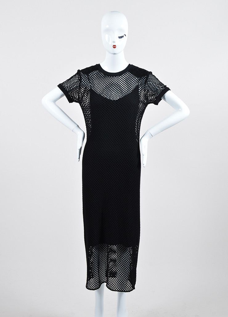 Black Tamara Mellon Knit Eyelet Suede Detail Layered Short Sleeve Dress Frontview