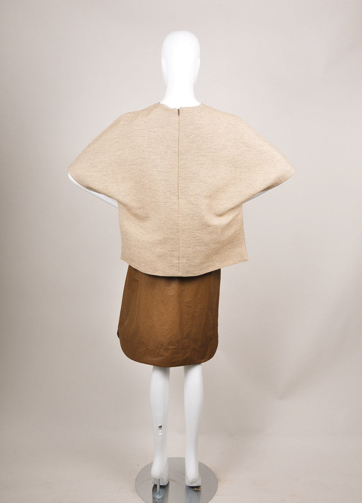 "The Row New With Tags Brown and Beige Coated Tweed Overlay ""Lia"" Combo Dress Backview"