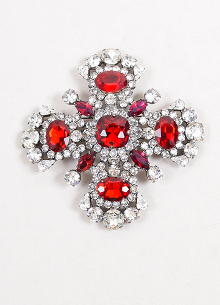 Thorin & Co. Silver Clear Red Maltese Cross Brooch Front
