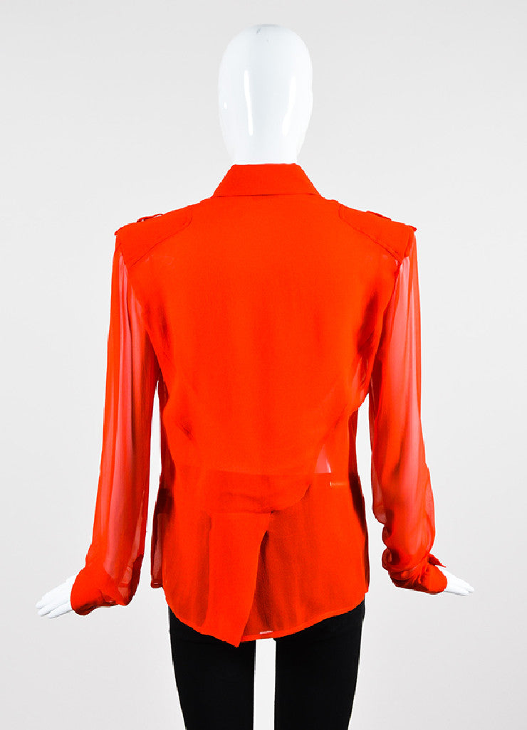 Tom Ford Red Silk Button Down Long Sleeve Blouse  Backview