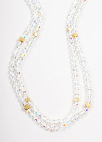 "Chanel Iridescent Crystal and Gold Toned ""CC"" Sautoir Necklace Detail"