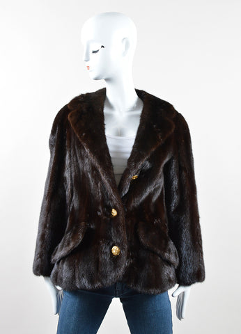 Bonwit Teller Brown Fur Eagle Button Flap Pocket Short Coat Frontview