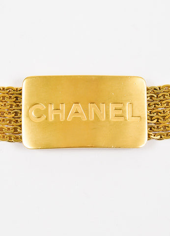 Chanel Gold Toned Metal 7 Strand Chain Link and Logo Plate Belt Detail