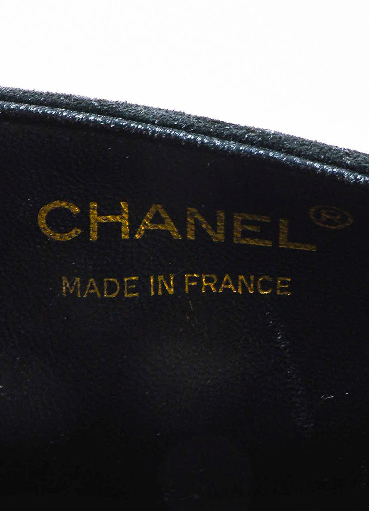 Chanel Black Suede Cross Body 'CC' Twist Lock Quilted Mini Flap Bag Brand