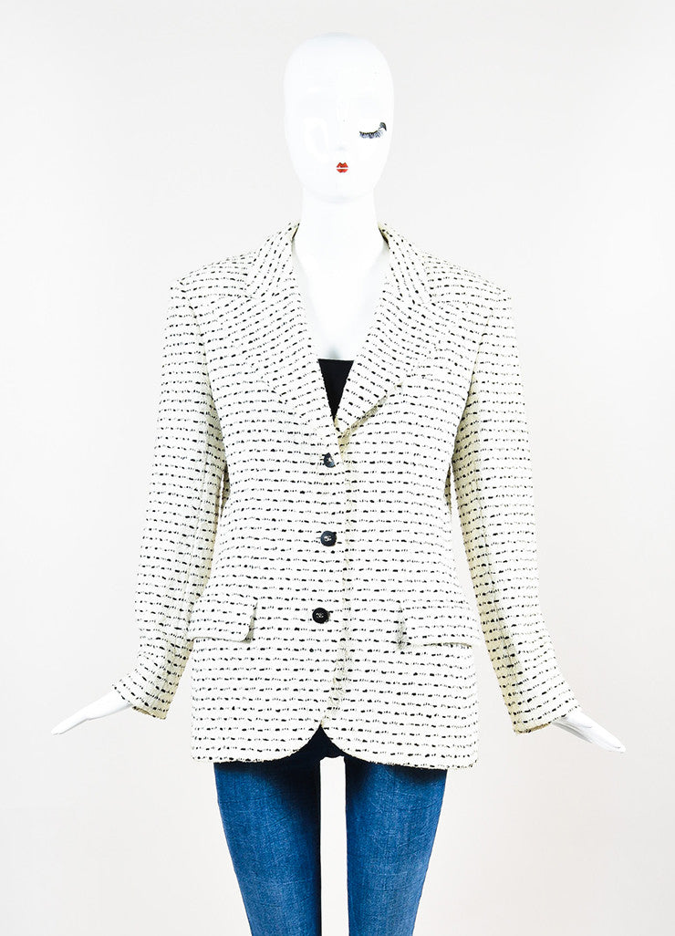 White & Black Chanel Boutique Textured Knit Buttoned Jacket Front 2
