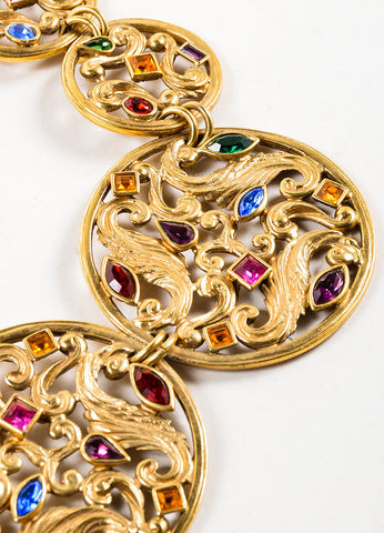Gold Toned and Multicolor Yves Saint Laurent Jewel Medallion Necklace Detail