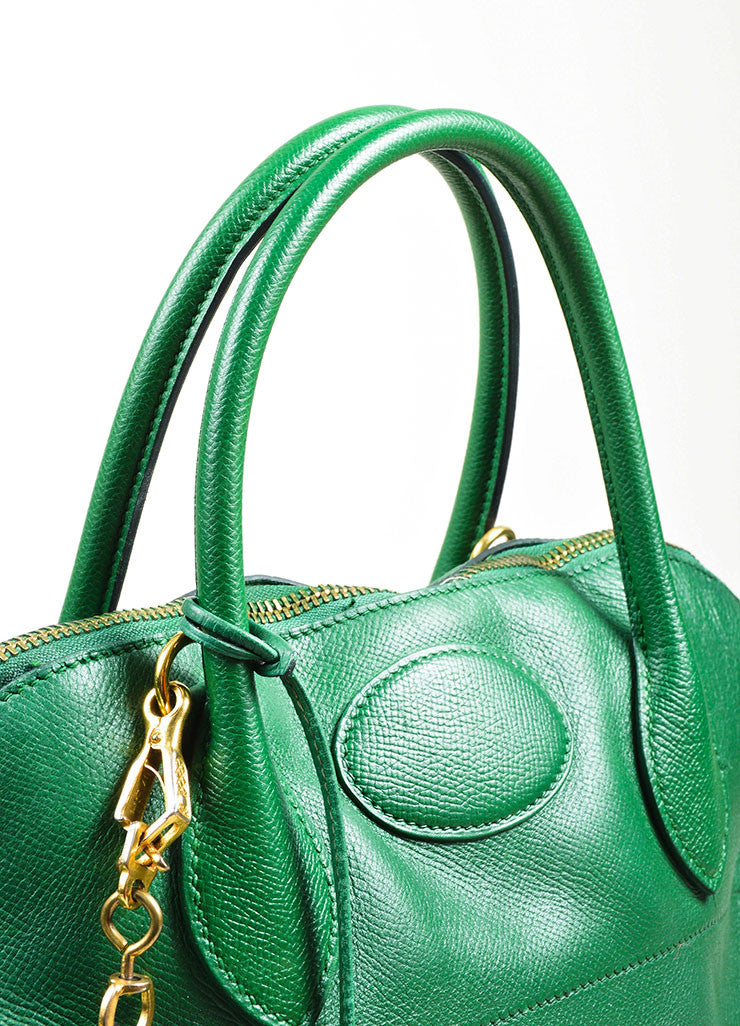"Kelly Green Hermes Leather ""Bolide 35cm"" Structured Satchel Bag Detail 3"