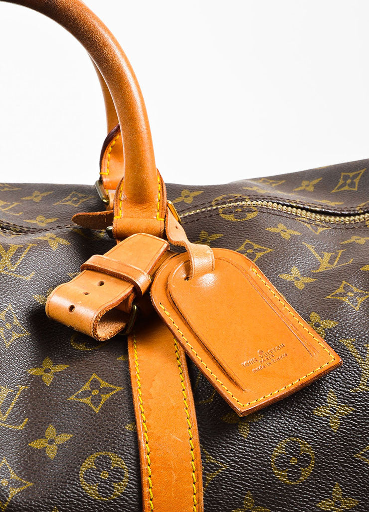 "Louis Vuitton Brown and Tan Coated Canvas and Leather Monogram ""Keepall 60"" Bag Detail 2"