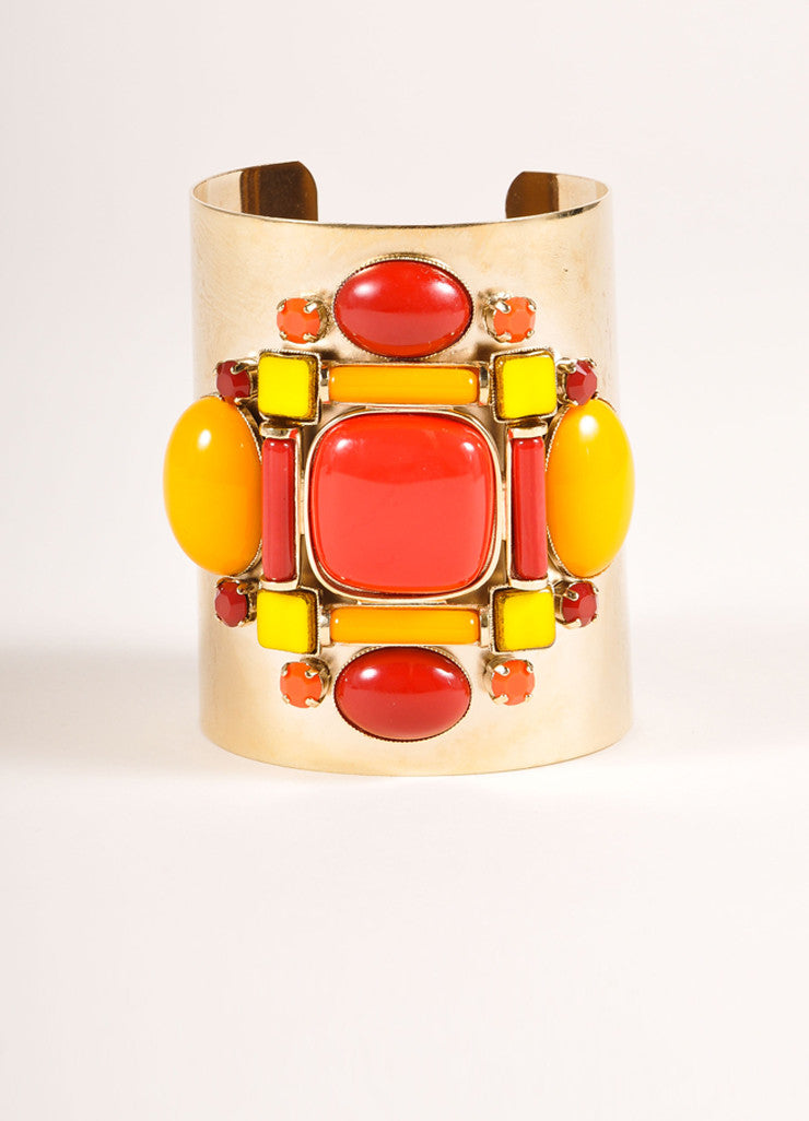 Philippe Ferrandis Gold Toned, Red, and Orange Metal and Stone Wide Cuff Bracelet Frontview