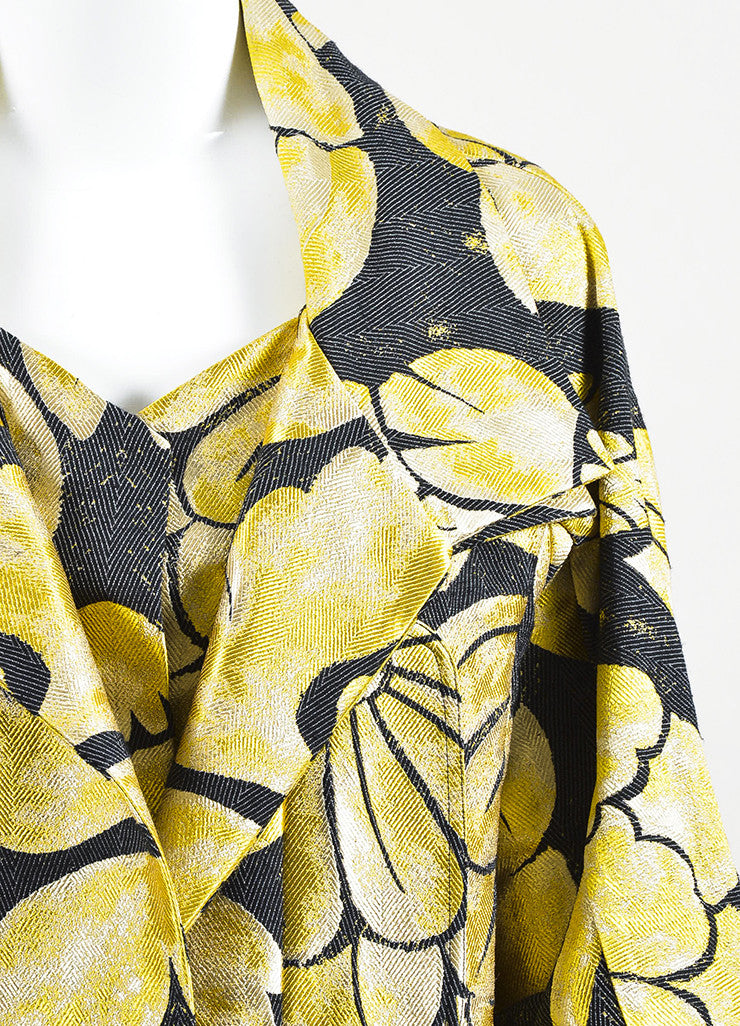 Black & Yellow Vera Wang Floral Print Brocade Cropped Jacket Detail