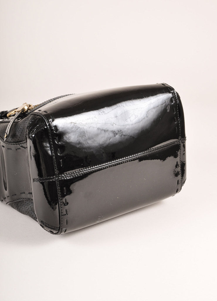 Versace Black Patent Leather Handbag Bottom View
