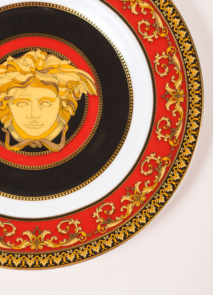"Versace Rosenthal Red, Black, and Gold Toned ""Medusa"" 7 inch Bread and Butter Plate Detail"