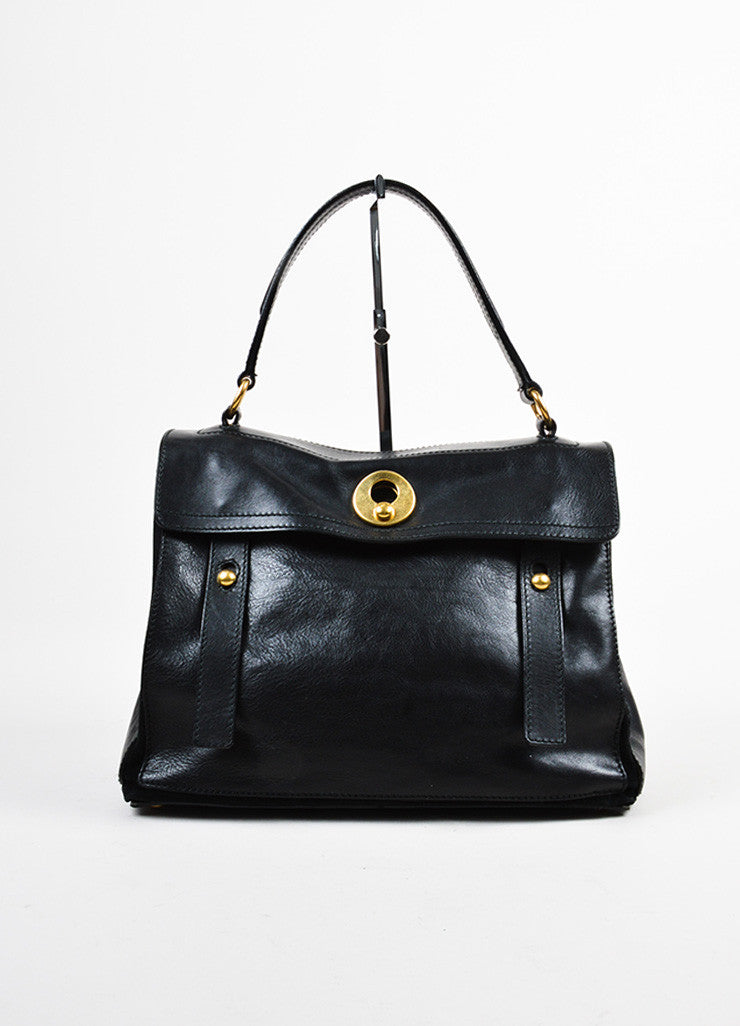 "Yves Saint Laurent Black Leather Suede Gold Toned ""Medium Muse Two"" Handbag Frontview"