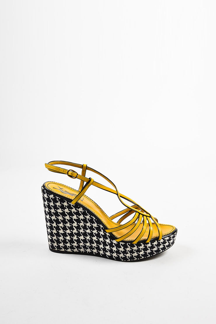 Yves Saint Laurent Black White and Yellow Leather Houndstooth Wedges Sideview
