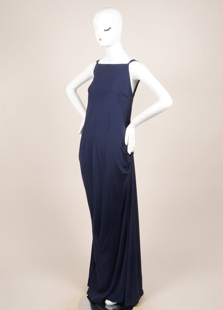 Yves Saint Laurent Blue Sleeveless Draped Gown Sideview