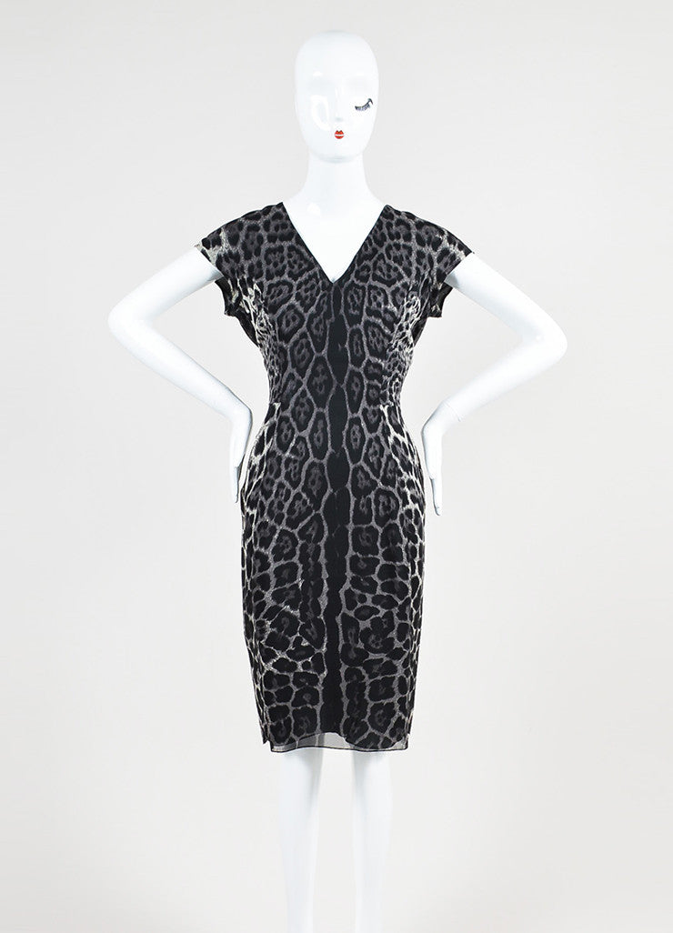 Grey and Black Yves Saint Laurent Chiffon Leopard Print V-Neck Cap Sleeve Dress Frontview